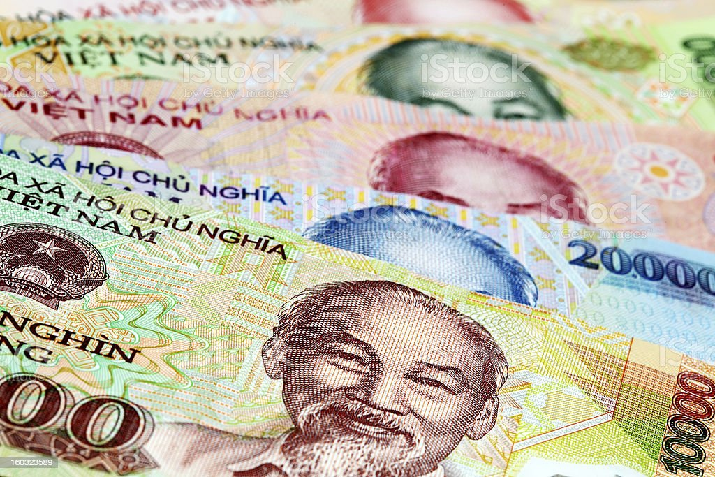 Vietnamese currency stock photo