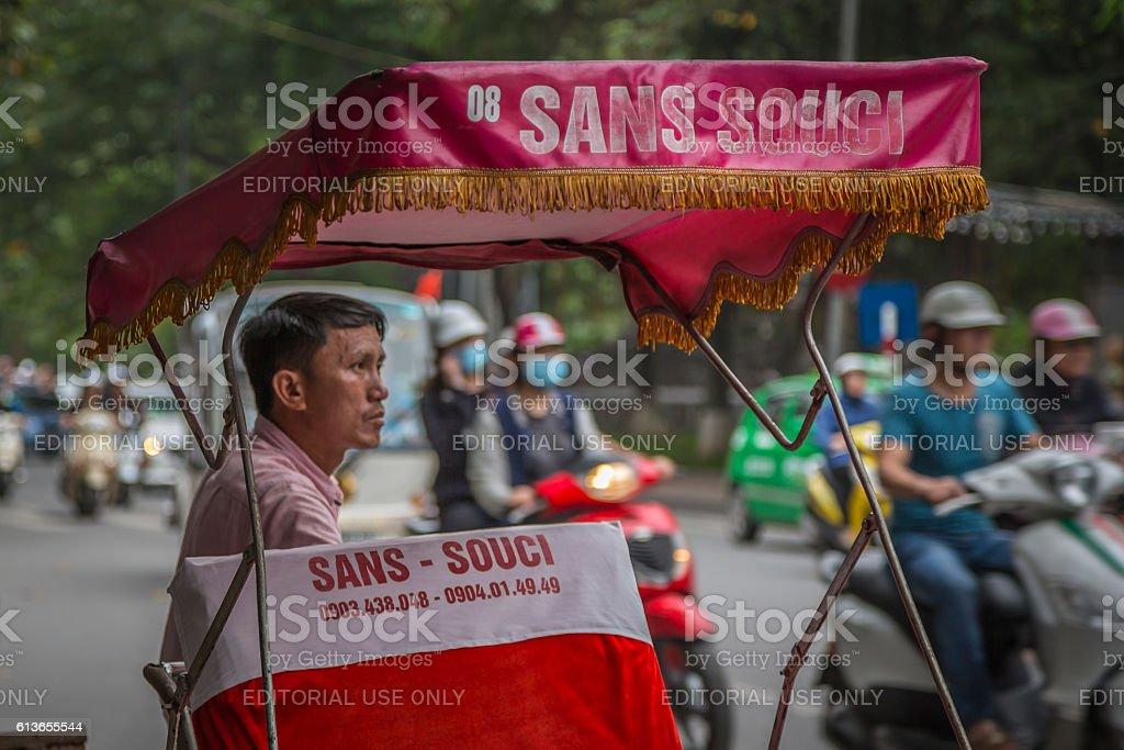 Vietnamese cyclo taxi waiting for customers, Hanoi, vietnam stock photo