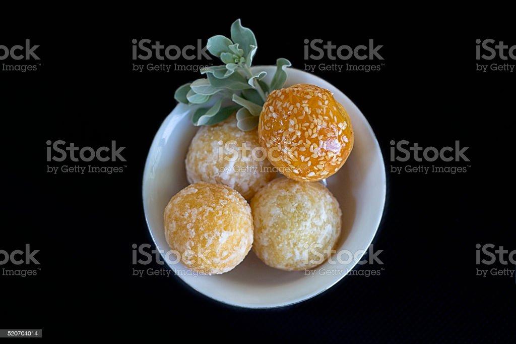 Vietnamese Deep-Fried Sesame Balls with Sweet Mung Bean Filling stock photo