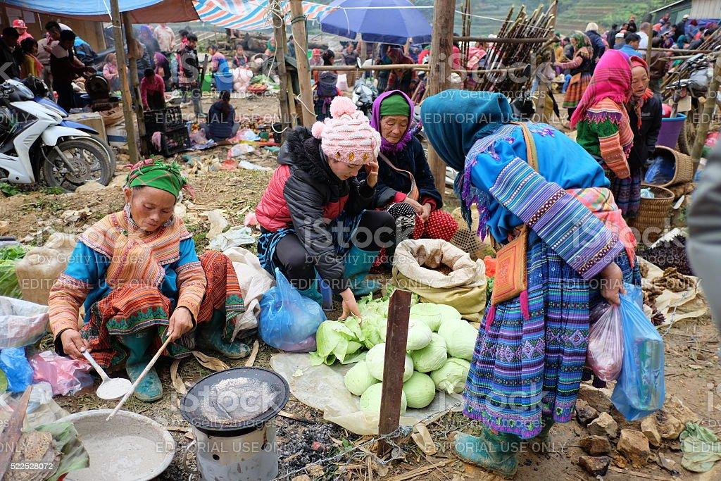 Vietnamese ethnic people at Can Cau market, Lao Cai, Vietnam stock photo