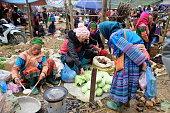 Vietnamese ethnic people at Can Cau market, Lao Cai, Vietnam