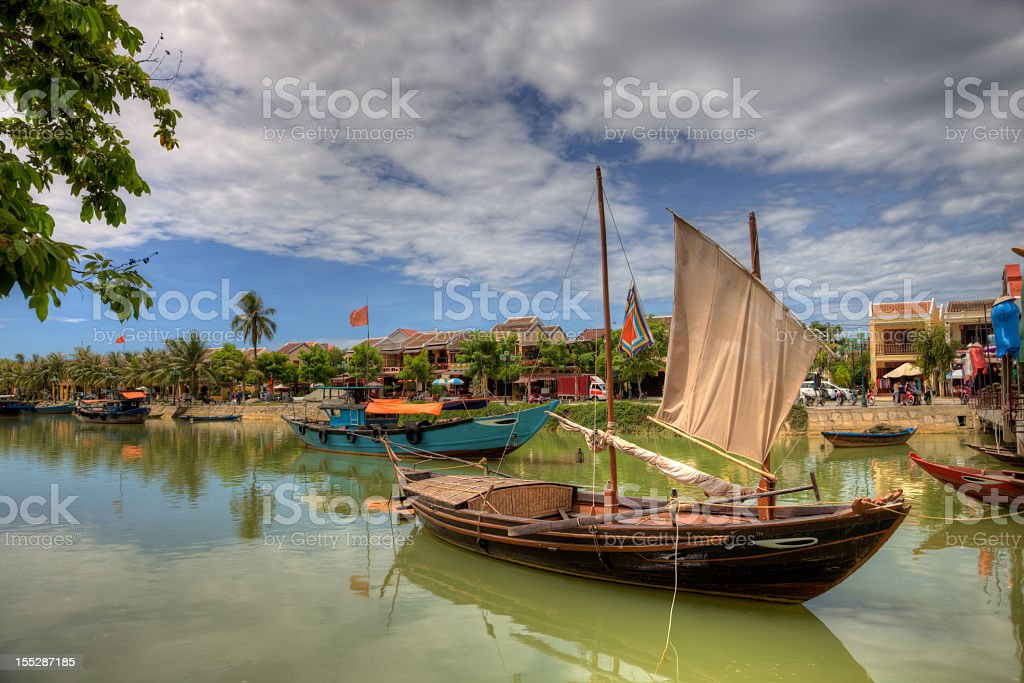 Vietnamese fishing boats in a village in Hoi An, Vietnam stock photo