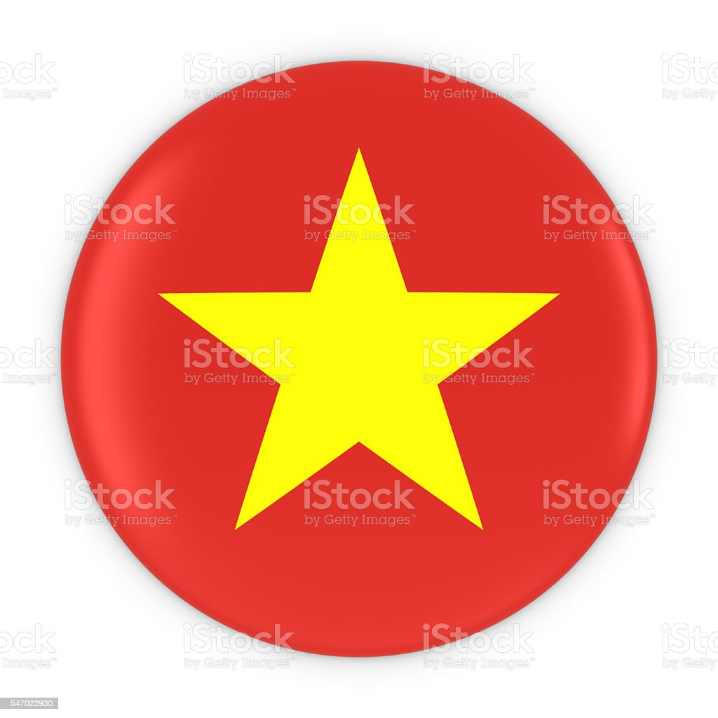 Vietnamese Flag Button - Flag of Vietnam Badge 3D Illustration stock photo