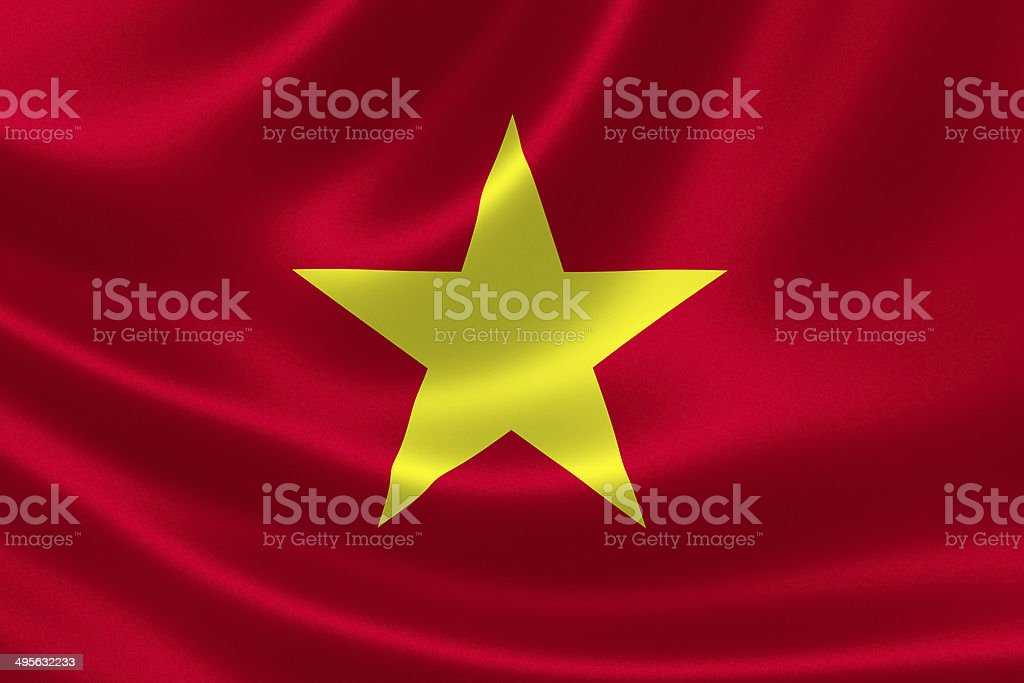 Vietnamese Flag Close Up stock photo