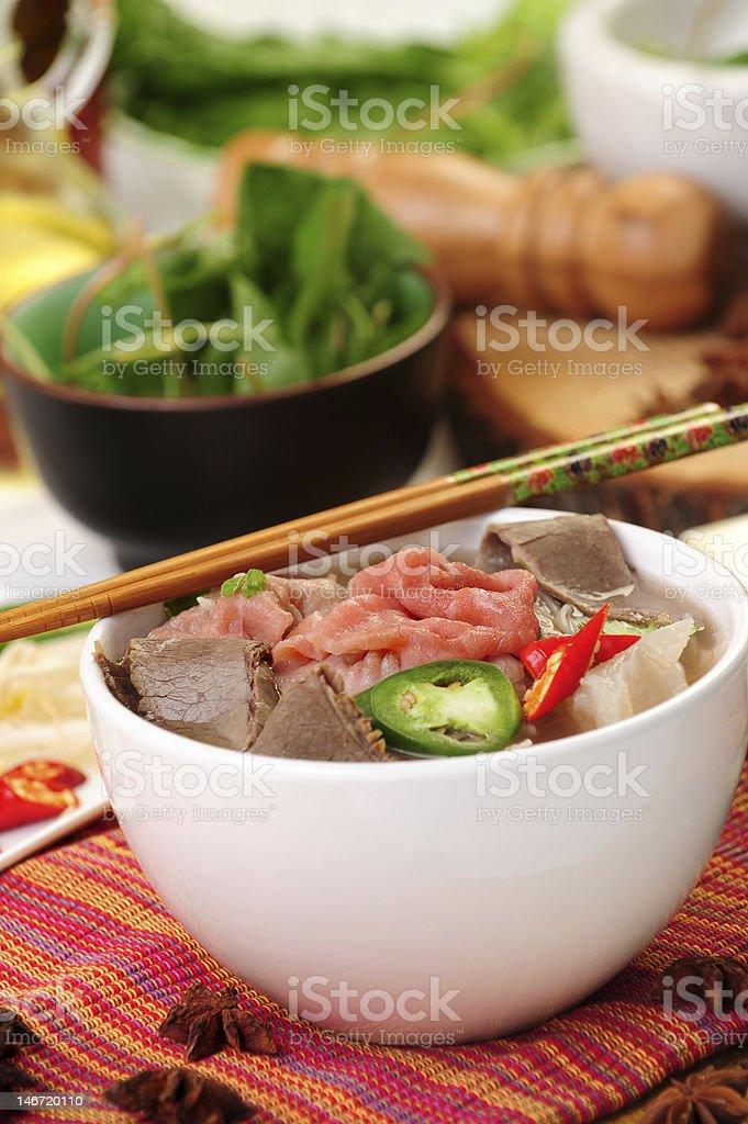 Vietnamese food calls pho tai royalty-free stock photo