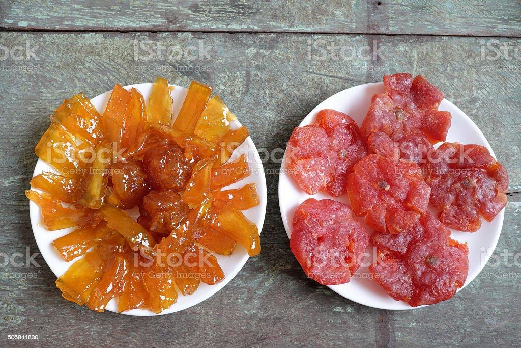 Vietnamese food, mango jam, Vietnam tet stock photo