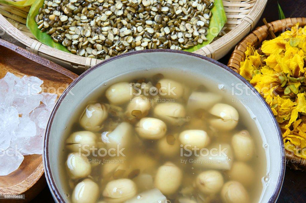Vietnamese food, sweet lotus seed gruel stock photo