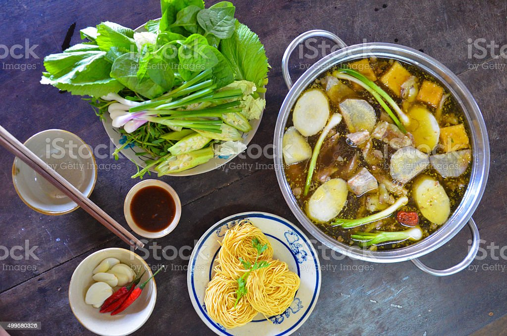 vietnamese goat hotpot stock photo
