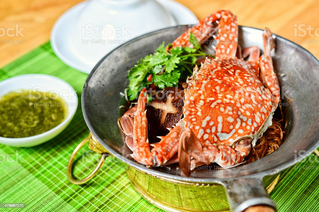 Vietnamese hot pot of sea crab stock photo