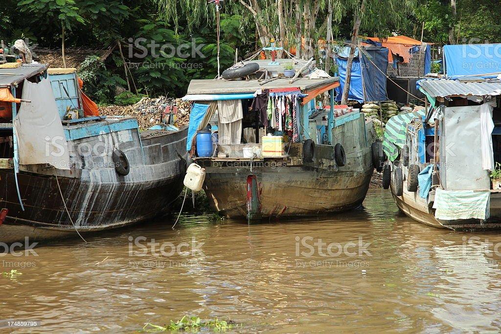 Vietnamese houseboats royalty-free stock photo