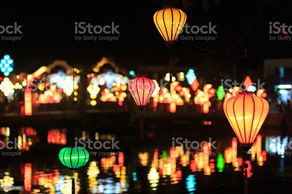 Vietnamese illuminated Lamps in Market at Night, Hoi An, Vietnam stock photo