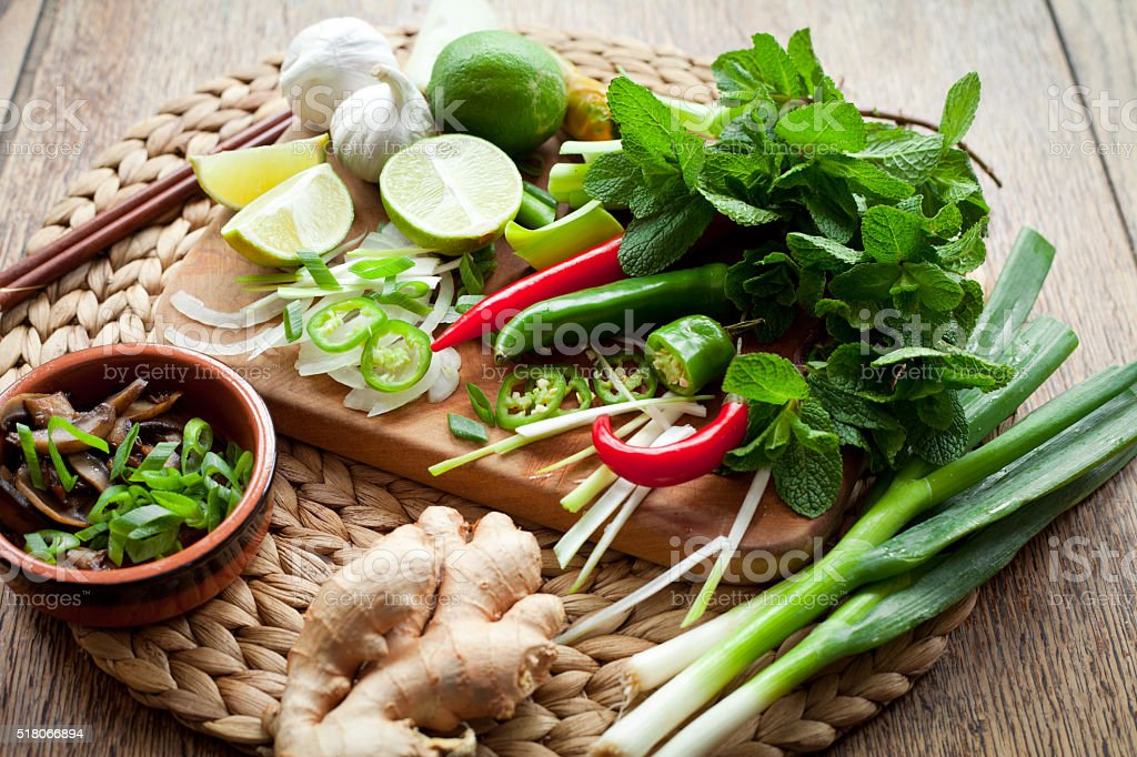 Vietnamese Ingredients for spicy soup Tom Yam stock photo