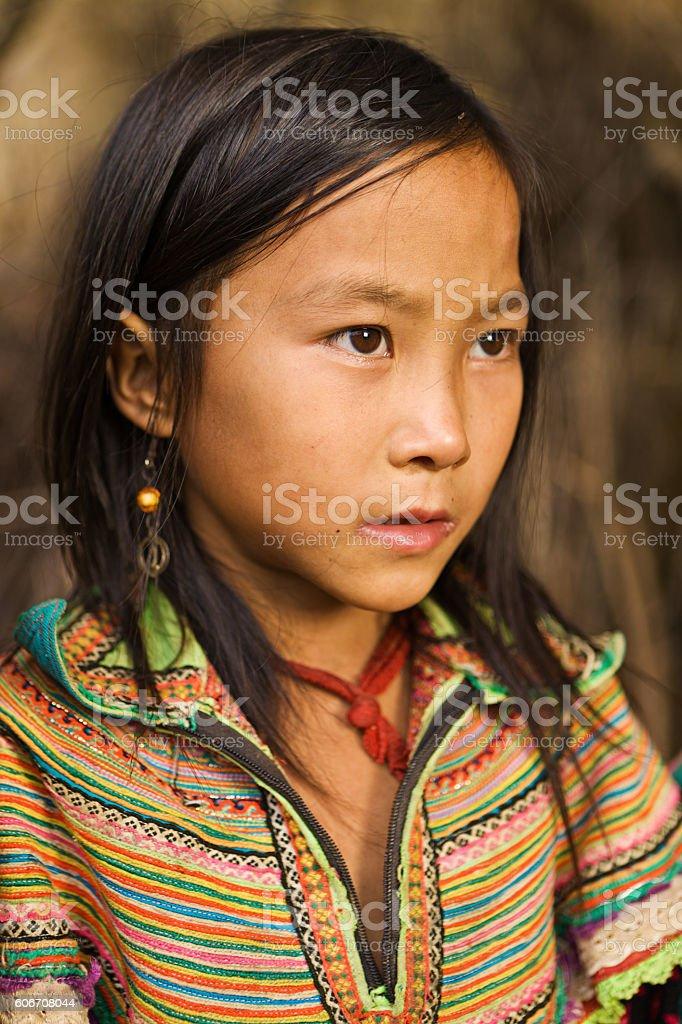 Vietnamese little girl from Flower Hmong Tribe stock photo
