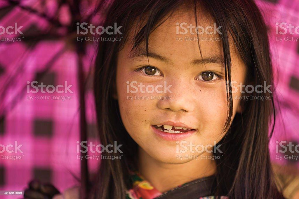 Vietnamese little girl from Hmong Tribe stock photo