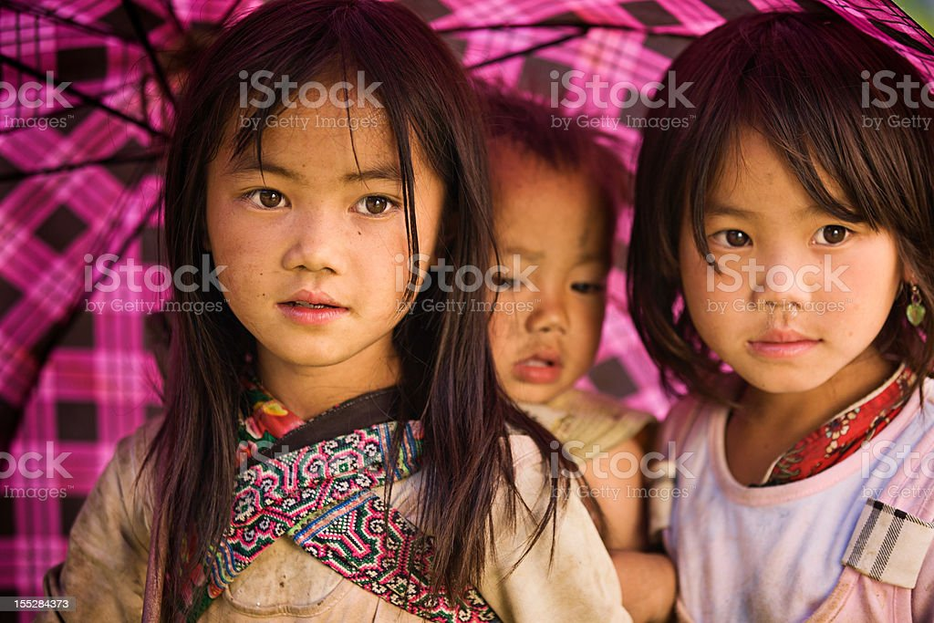 Vietnamese little girls from Hmong Tribe royalty-free stock photo
