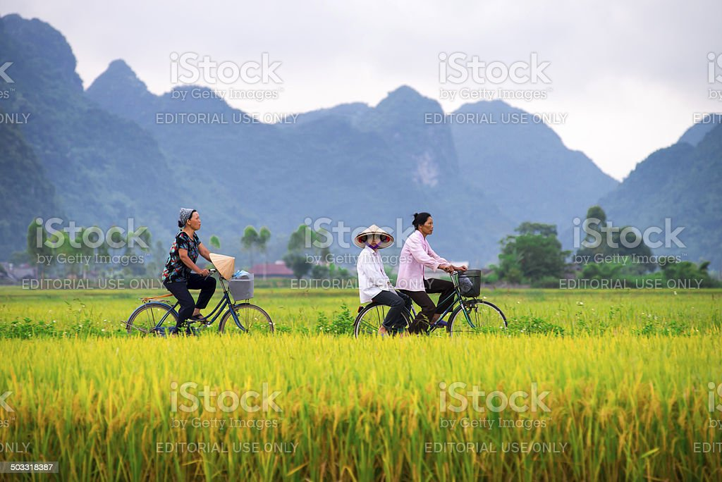 Vietnamese locals and their morning ride in Bac Son Valley stock photo