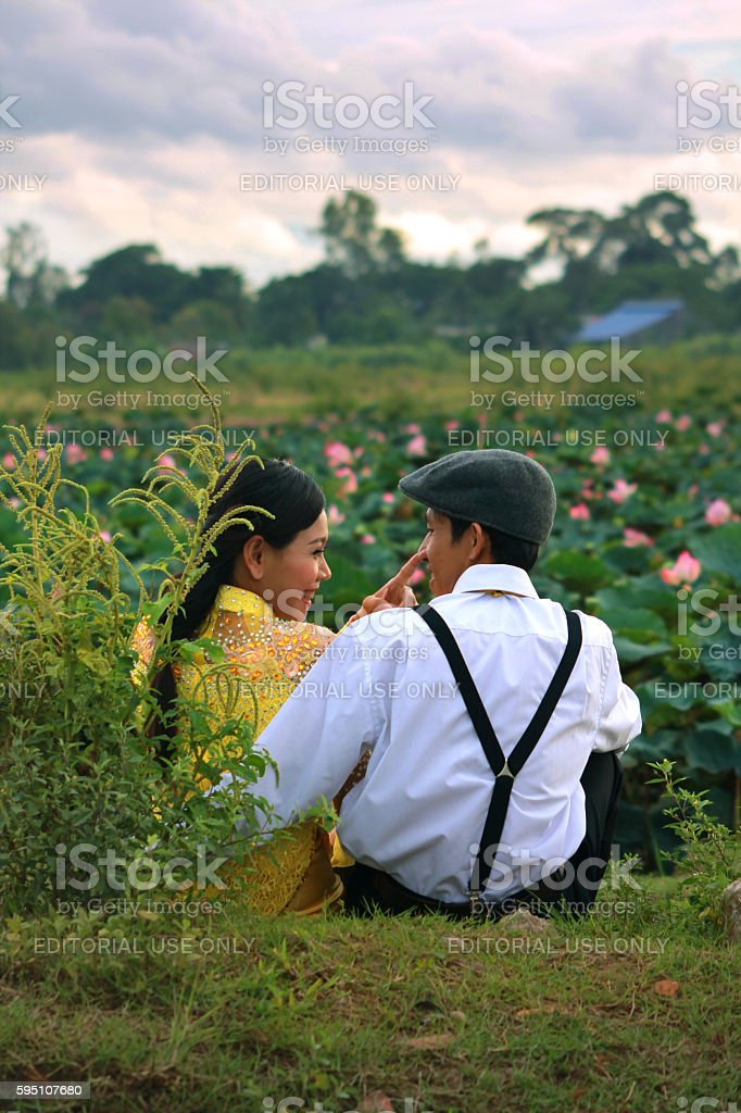 Vietnamese man and woman in traditional costume stock photo