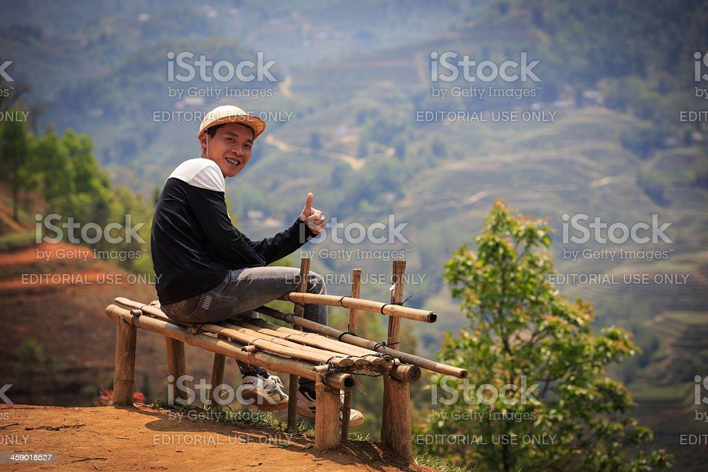 Vietnamese Man Thumb Up and Happy, Sa Pa, Vietnam royalty-free stock photo