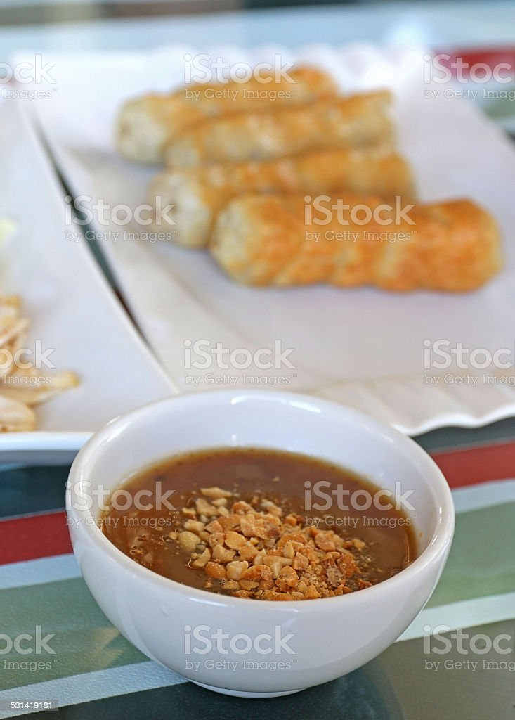 Vietnamese Meatball Wraps stock photo