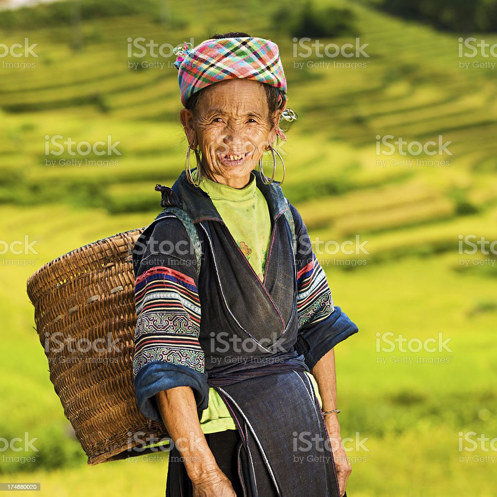 Vietnamese minority people - woman from Black Hmong Hill Tribe royalty-free stock photo