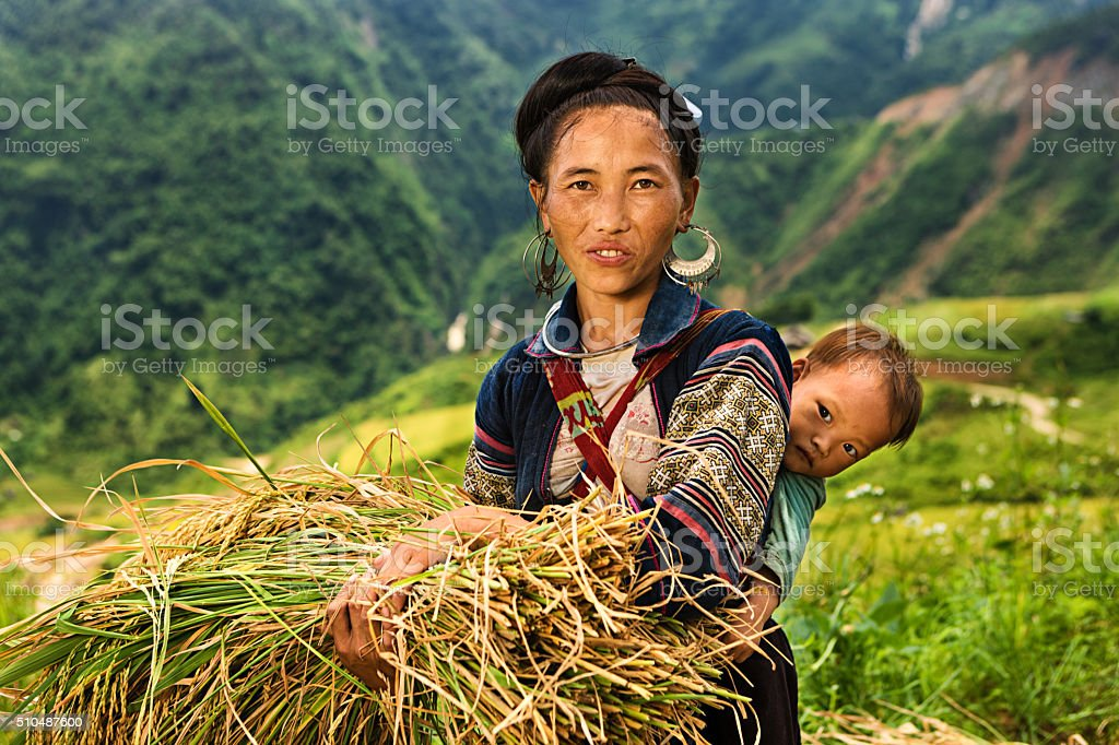 Vietnamese minority people - woman from Black Hmong Hill Tribe stock photo