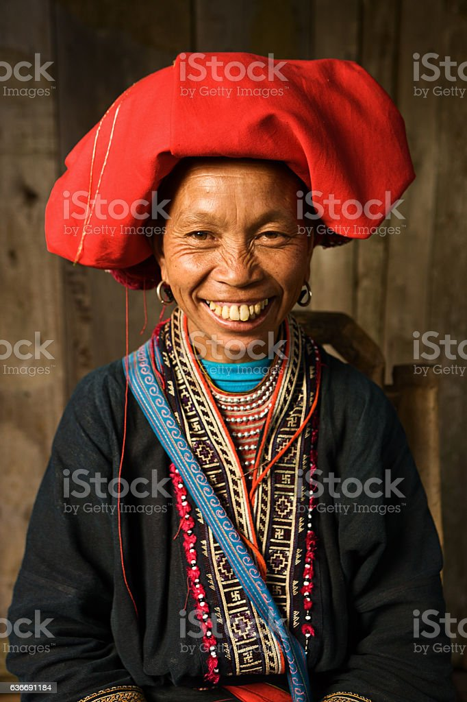 Vietnamese minority people - woman from Red Dao hill tribe stock photo