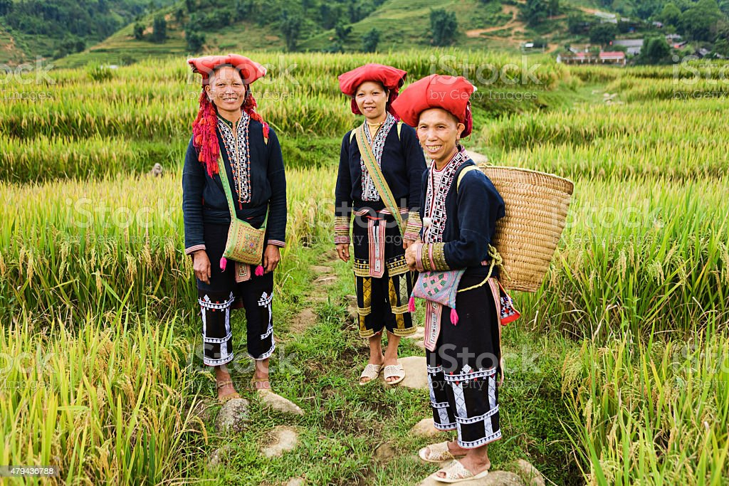 Vietnamese minority people - women from Red Dao hill tribe stock photo
