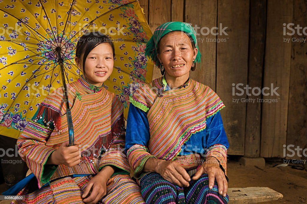 Vietnamese mother from Flower Hmong Tribe with her daughter stock photo
