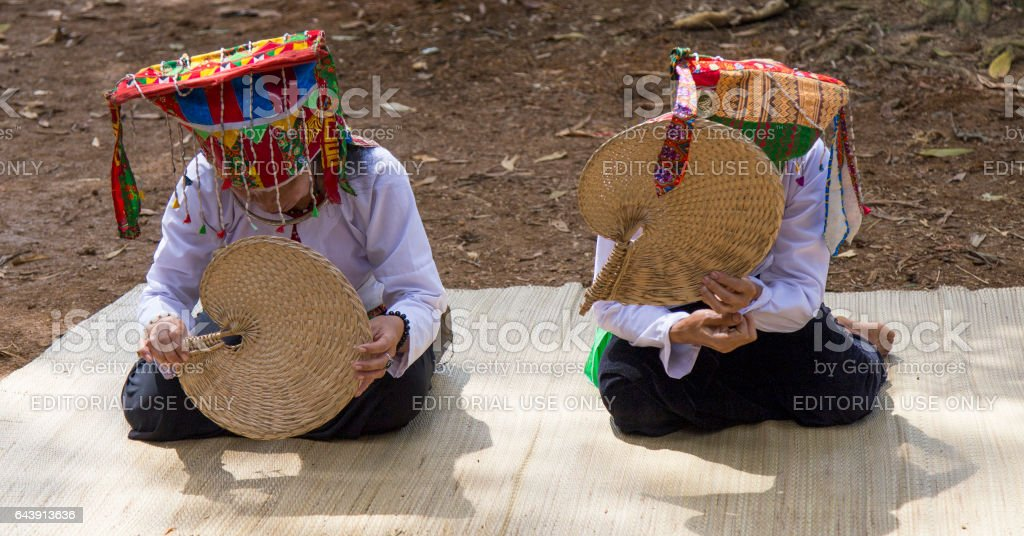 Vietnamese Muong ethnic people in traditional costume performing a spiritual dance stock photo