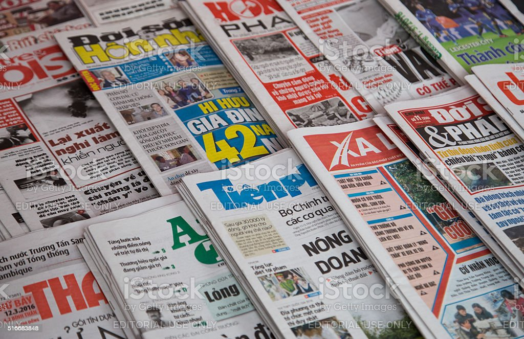 Vietnamese newspapers for sale stock photo
