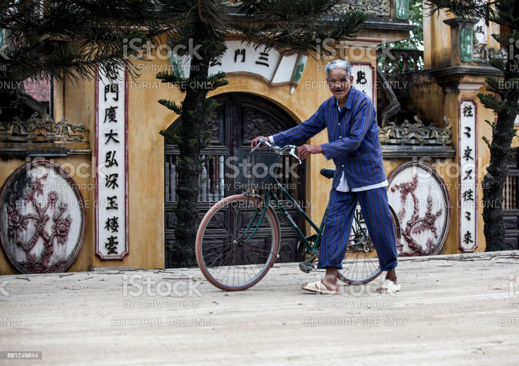 A Vietnamese old man stock photo