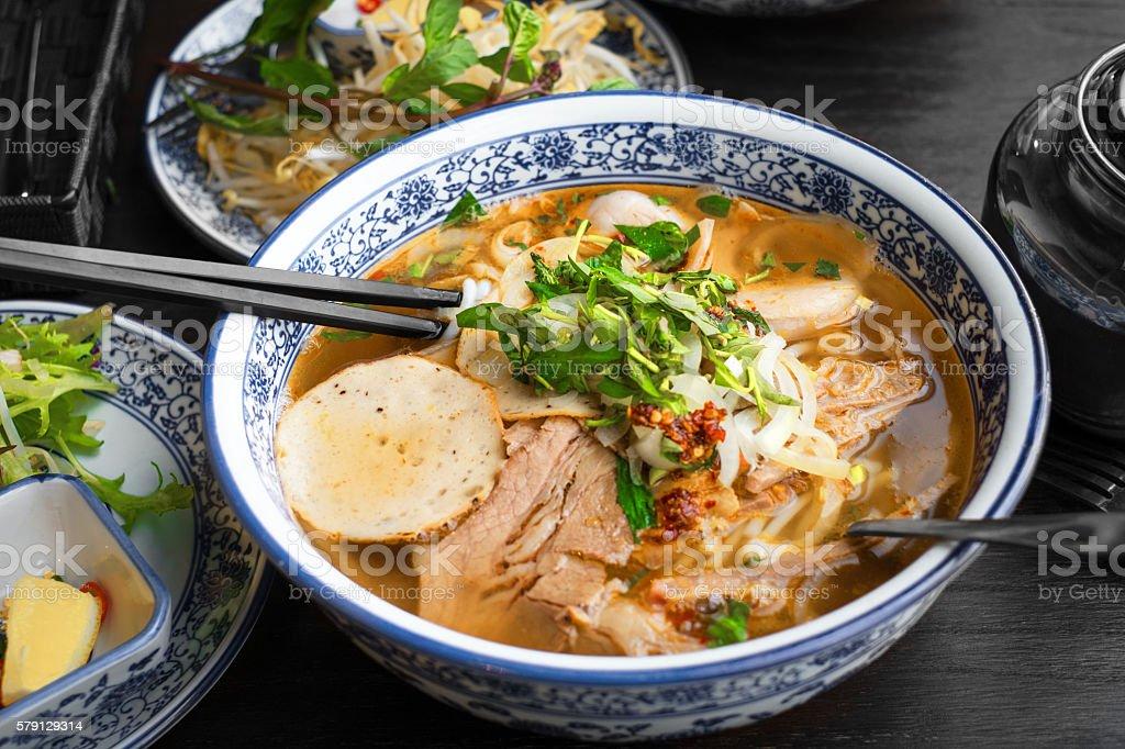 vietnamese pho tom yum - asian soup stock photo