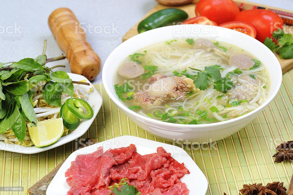 Vietnamese pho with fresh beef and vegetables royalty-free stock photo