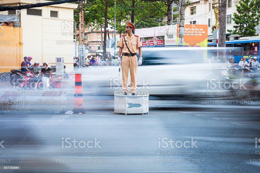Vietnamese policeman, Ho Chi Minh City, Vietnam stock photo