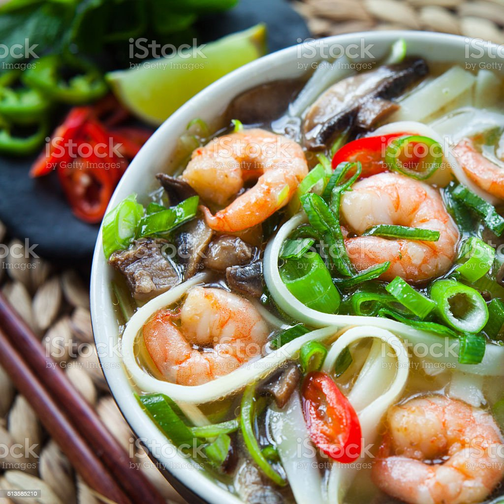 Vietnamese prawn noodle soup -  pho tom yum. stock photo