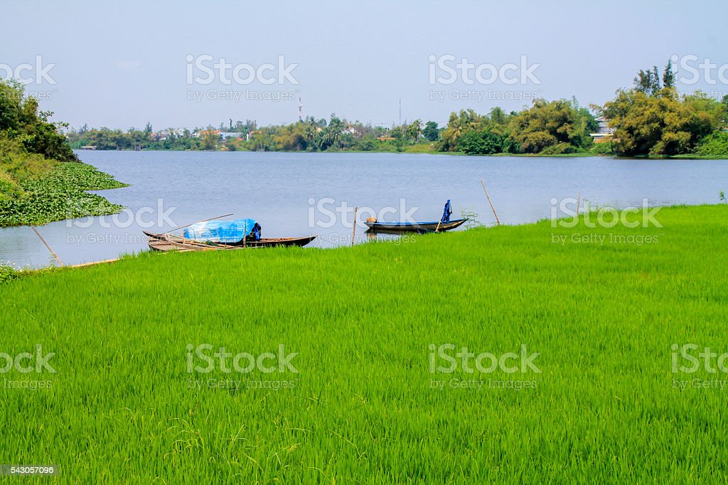 Vietnamese rice field with fishing boats in rural river. photo libre de droits