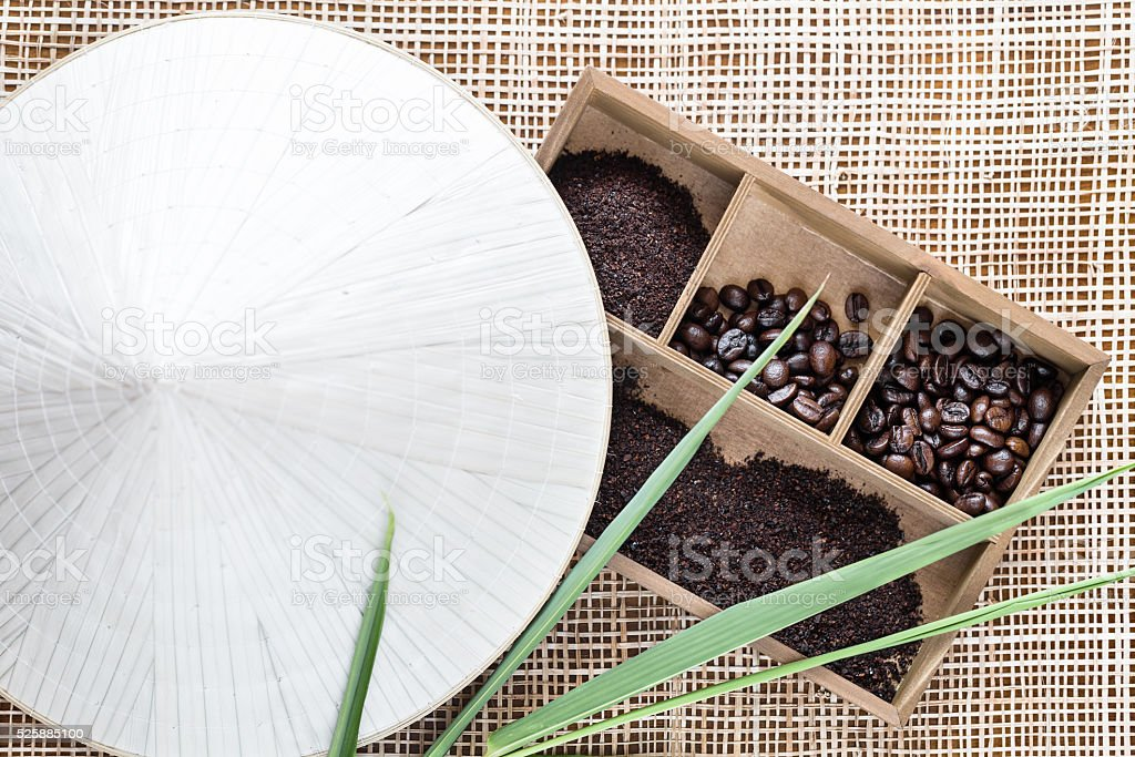 Vietnamese Robusta coffee in wooden box stock photo