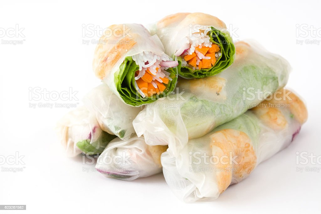 Vietnamese rolls with vegetables stock photo