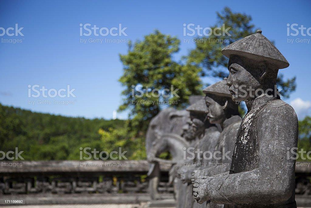 Vietnamese Soldiers statues at Khai Dinh Emperor's Mausoleum, Hu stock photo