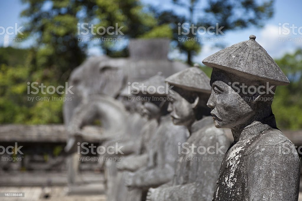 Vietnamese Soldiers statues at Khai Dinh Emperor's Mausoleum, Hue, Vietnam stock photo