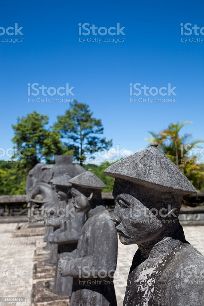 Vietnamese Soldiers statues at Khai Dinh Emperor's Mausoleum, Hue, Vietnam royalty-free stock photo