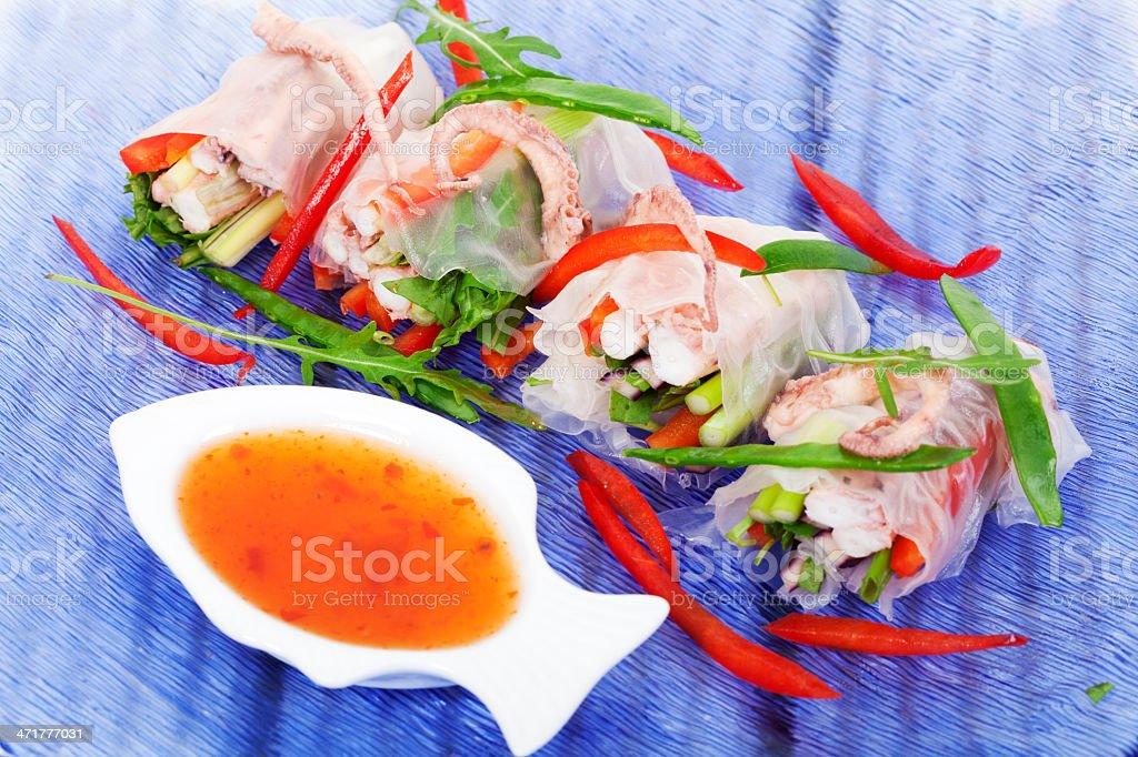 Vietnamese spring roll with octopus royalty-free stock photo