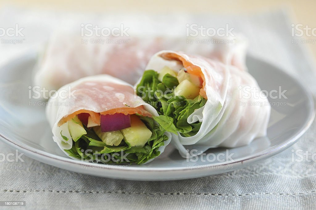 vietnamese spring rolls with Salmon royalty-free stock photo