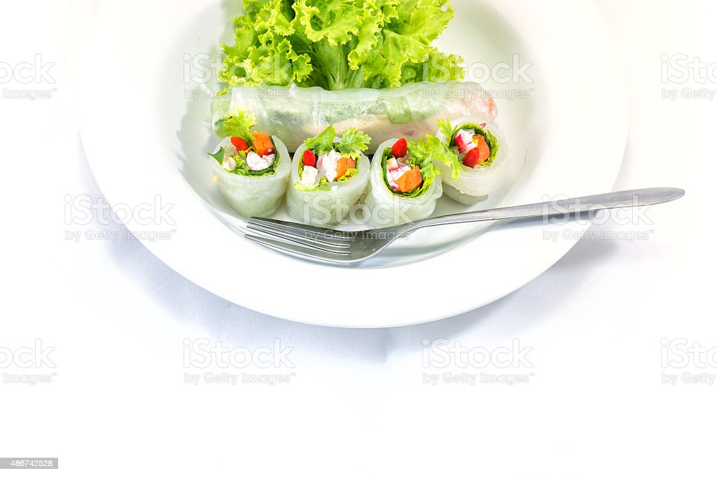 vietnamese spring rolls with Salmon stock photo