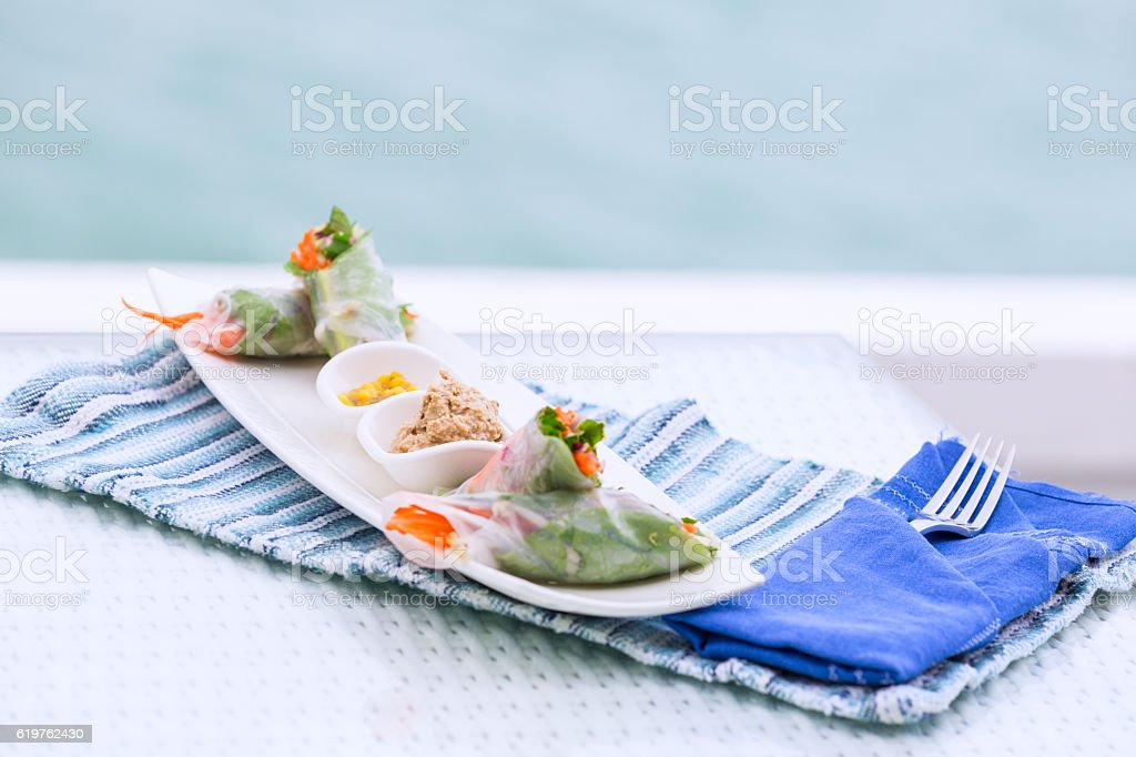 Vietnamese spring rolls with vegetables and coriander on a plate stock photo