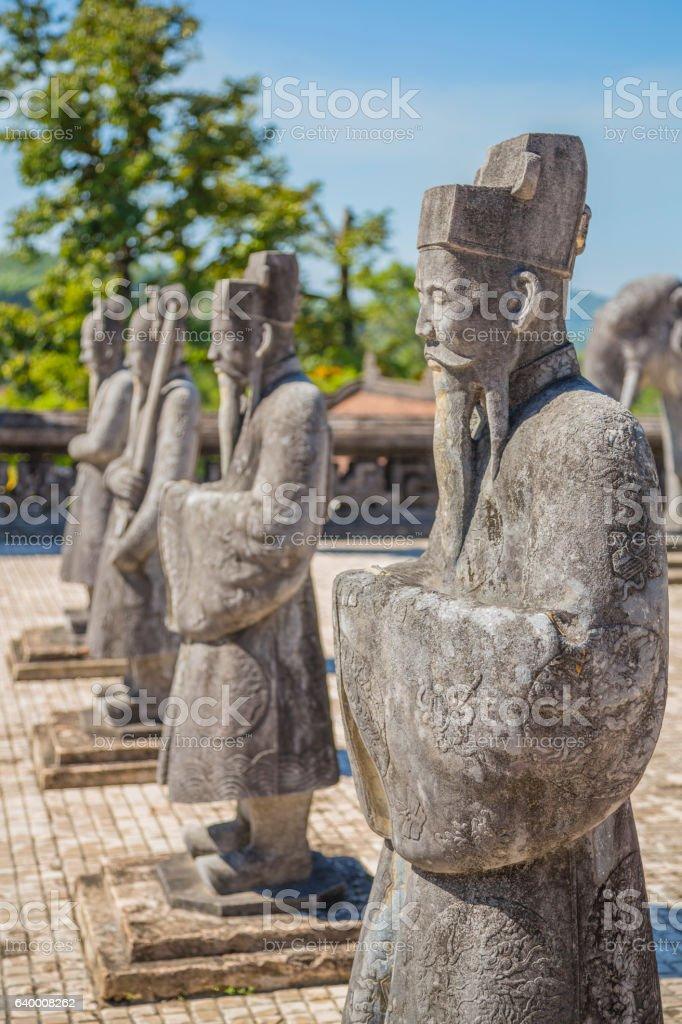 Vietnamese statues at Khai Dinh Emperor's Mausoleum, Hue, Vietnam stock photo