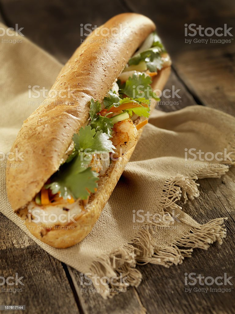 Vietnamese Sub Sandwich with Grilled Shrimp royalty-free stock photo