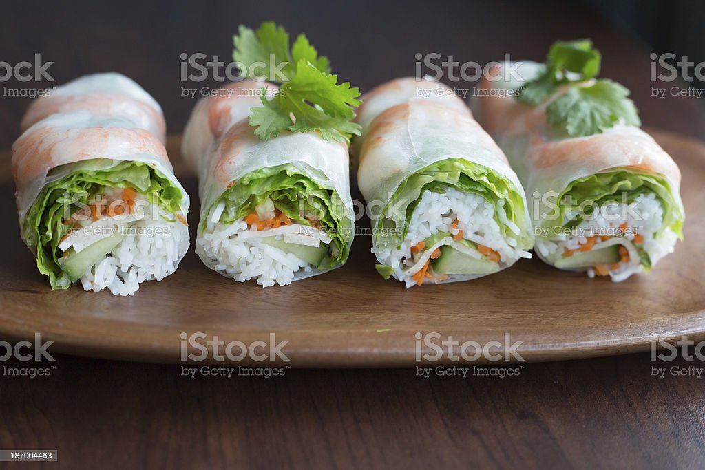 Vietnamese summer salad rolls stock photo