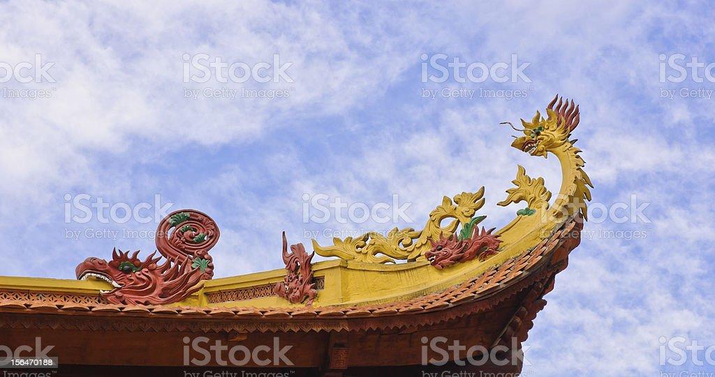 Vietnamese temple roof decorative royalty-free stock photo