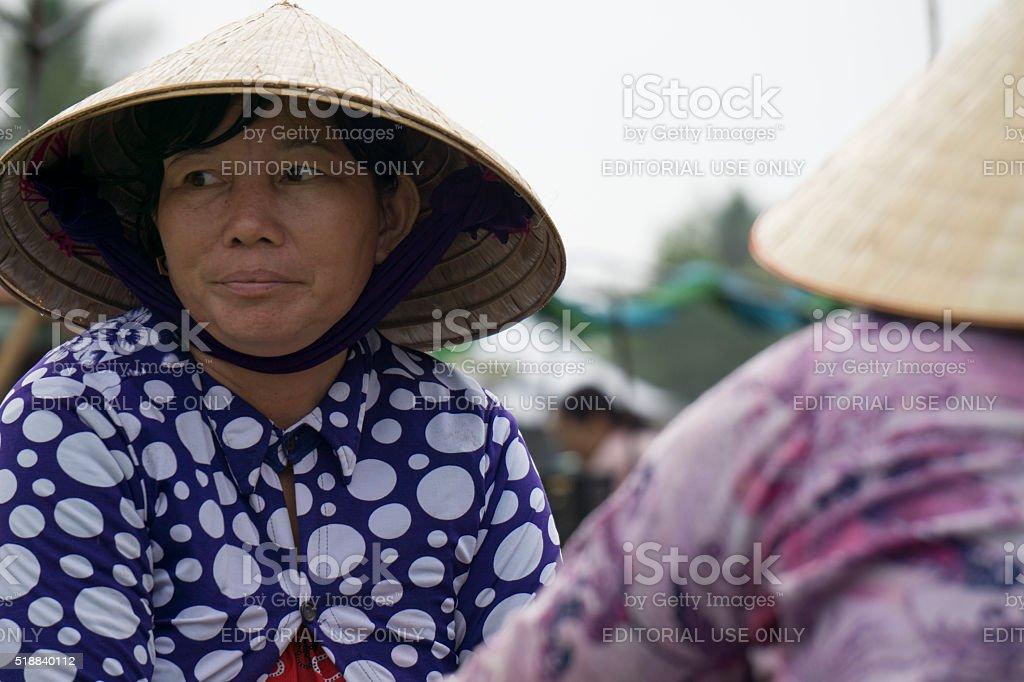Vietnamese traders at a floting market stock photo